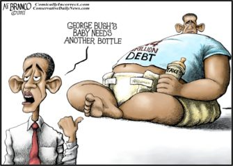 "Past Blast Cartoon "" Obama Debt Baby"""