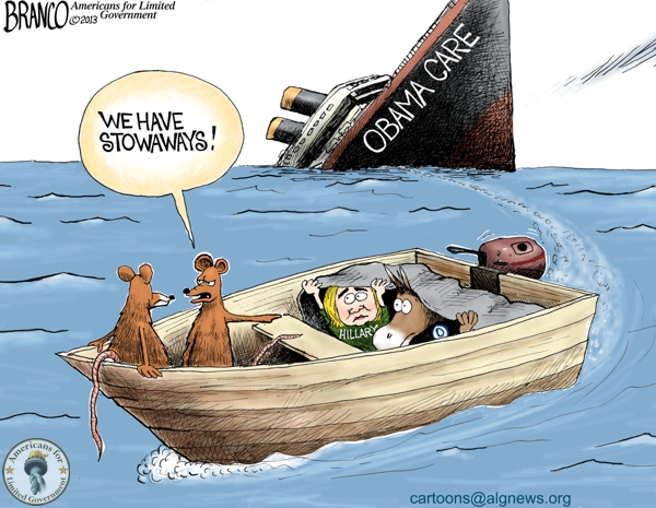 Fleeing Obama-care Political Cartoon