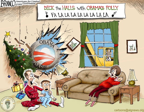 Christmas Disaster Obama-care Cartoon