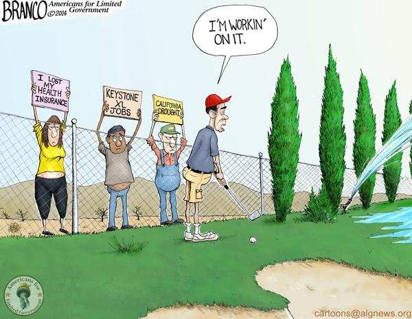 Obama Golfing Cartoon