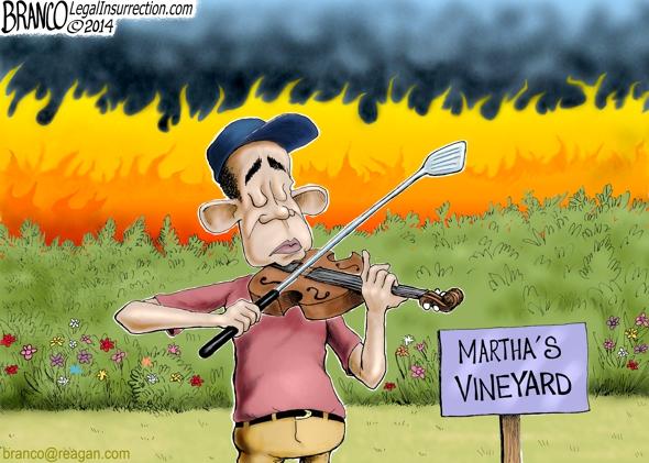 Obama Fiddles Cartoon