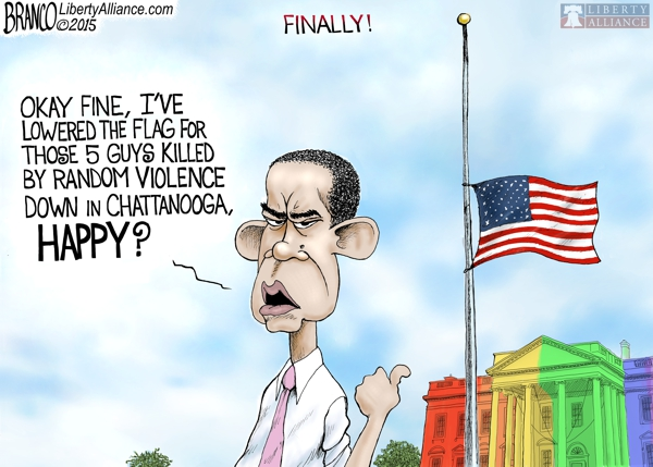 Obama Lowers Flag