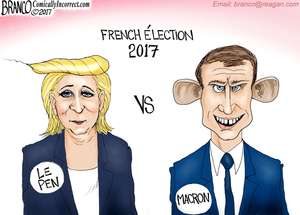 Le Pen and Macron Cartoon