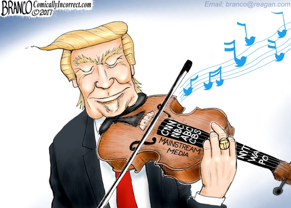 Trump Playing the Media Violin