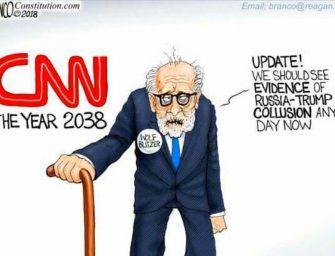 Trump Tweets A.F. Branco Cartoon Mocking CNN and Wolf Blitzer