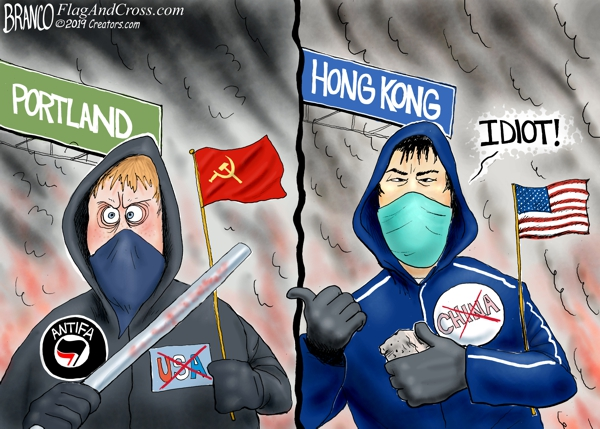 Portland Antifa and Honk Kong Protester