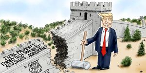 A.F. Branco Cartoon - The Great China Trade Barrier